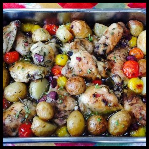 This easy chicken traybake makes a great one pot meal, especially at weekends.