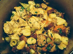 Chicken with herbs and gnocchi.