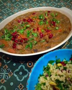 Fragrant lamb stew served with a herbed couscous