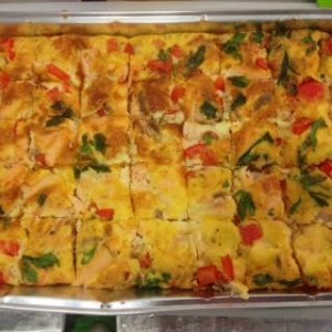 Hot smoked salmon and red pepper frittata