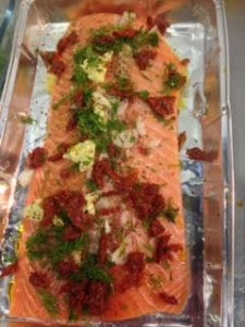 A trip to the Mediterranean with sun dried tomato and dill salmon