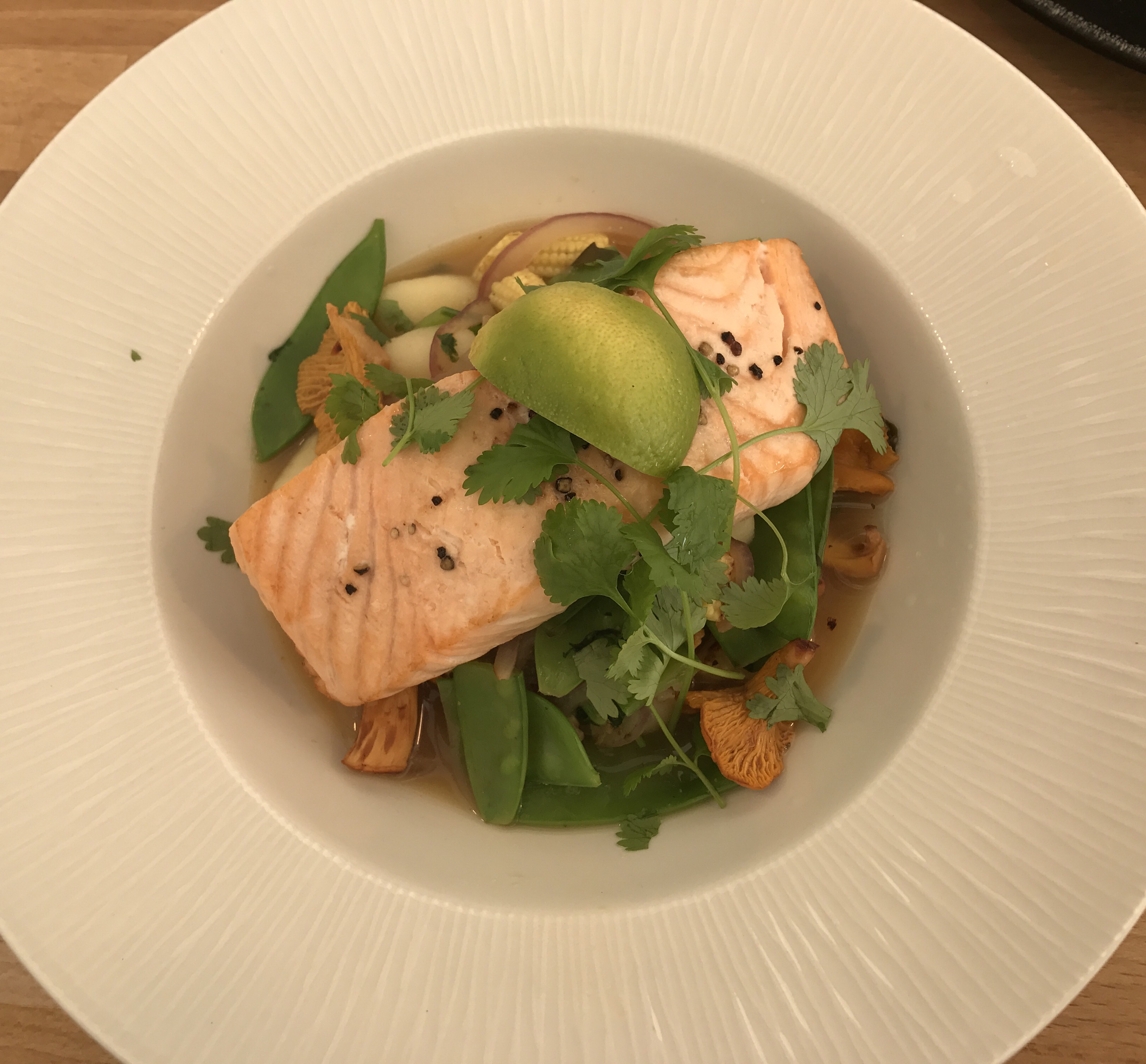 Chef Alfie Little - Hot roast salmon in a spicy broth.