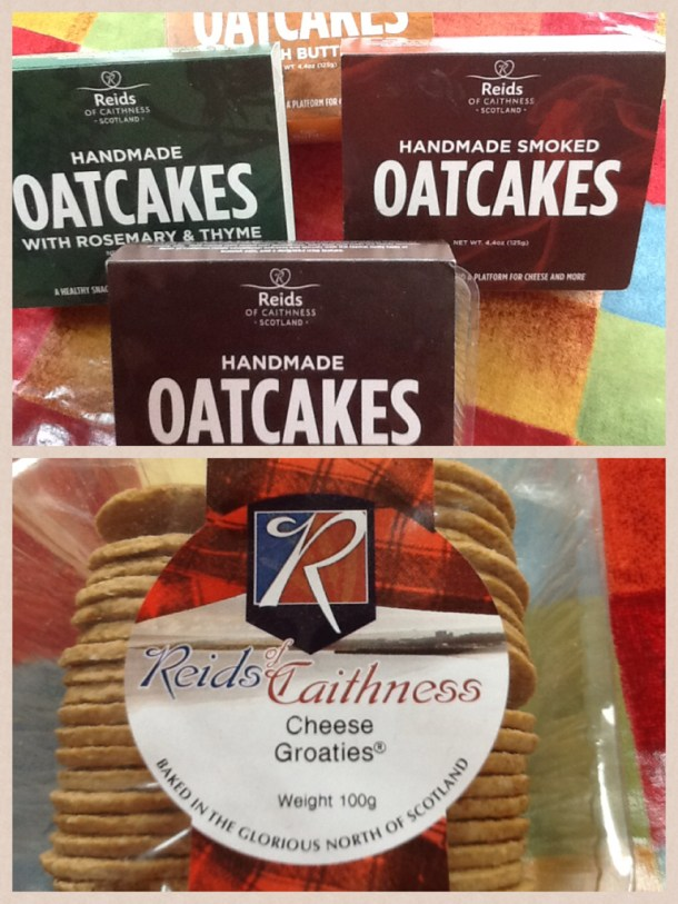 The delicious savoury range includes, garlic 'Groaties', oatcakes with black pepper, oatcakes with rosemary & thyme, otacakes  with butter and smoked oatcakes