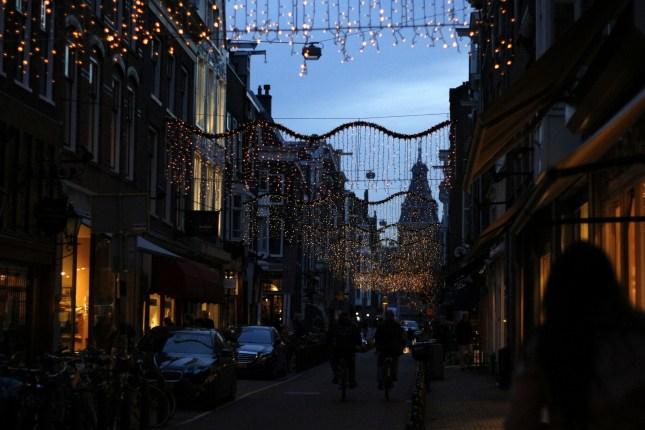 Amsterdam holiday lights on the Speigelstraat