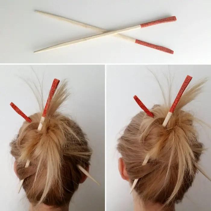 Queen Lila's Easy Hair Stick Bun How To