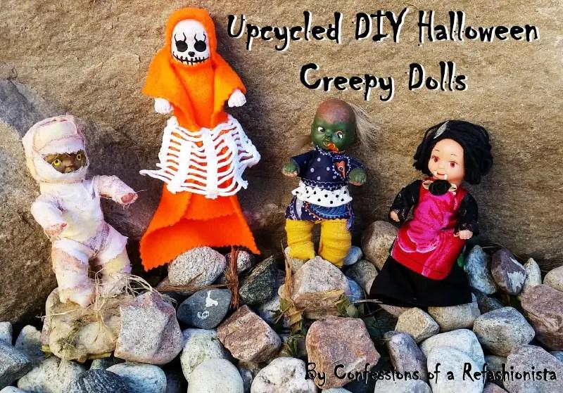 Easy upcycled DIY Halloween Creepy Dolls