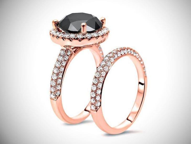 7.0ct Black Round Diamond in 14k Rose Gold Engagement Ring Set