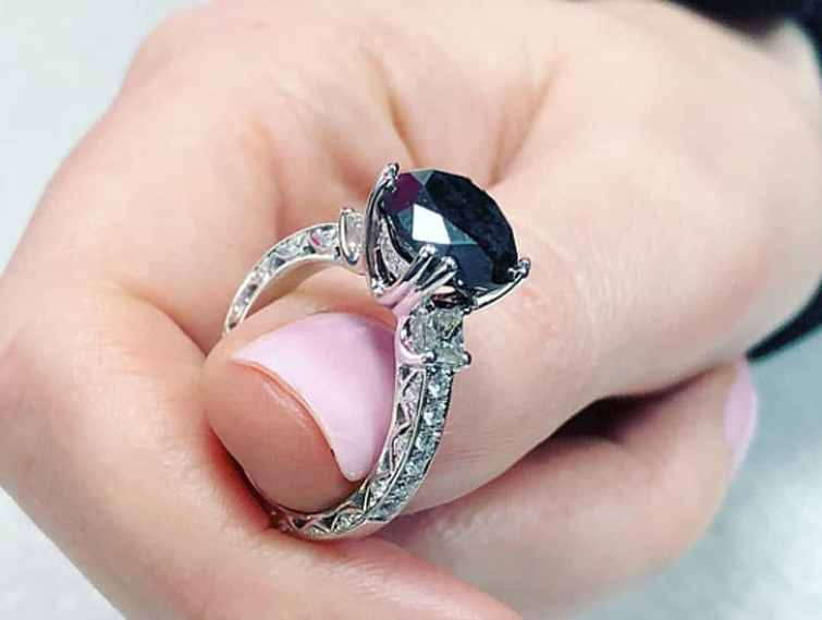 Four Carat Round Cut Black Diamond Engagement Ring