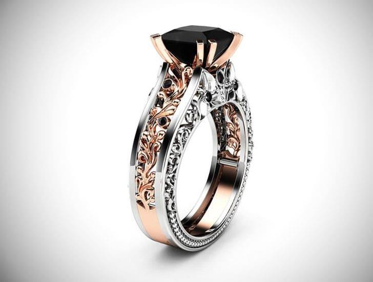 Princess 14K Two Tone Gold Black Diamond Ring