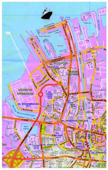 Peta Surabaya yang menunjukan kawasan Perak dan sekitarnya serta jalan-jalan utama Surabaya yang menjadi akses ke kawasan Perak.