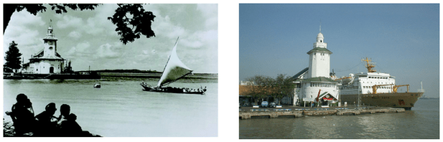 Menara Syahbandar - yang sejatinya adalah Kantor Pusat Pelabuhan, tampak dilihat dari Klub Perwira AL Ujung, tahun 1930-an dan kondisi sekarang (gambar kanan) dimana menara ini, walaupun ada banyak bangunan tinggi lain tetap menjadi ikon Tanjung Perak.