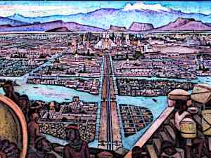 Aztec Capital Tenochtitlan - The city was established on a very unusual terrain where the ground was swampy and therefore the land had to be expanded artificially.