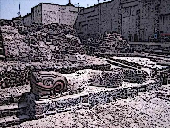 Aztec Templo Mayor Ruins Serpents