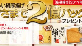【終了】2017/6/30相模屋食料 焼いておいしい絹厚揚げキャンペーン