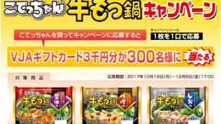 【終了】2017/12/8エスフーズ こてっちゃん牛もつ鍋キャンペーン VJAギフトカード3千円分プレゼント!