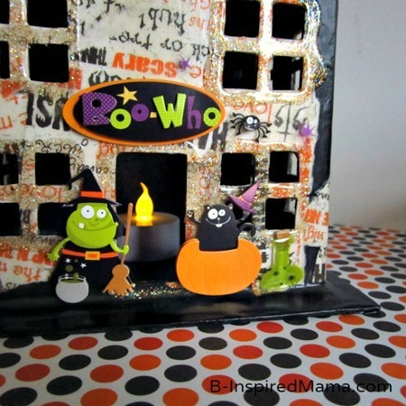 Fun Stickers on Our Mod Podge Haunted House Kids Craft for Halloween at B-Inspired Mama