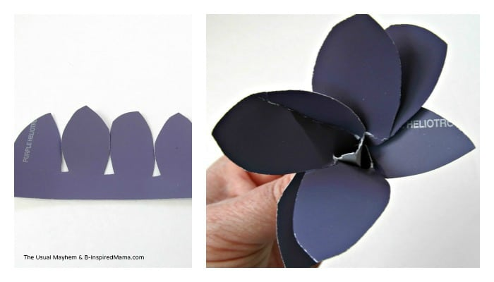 One Variation of Paint Chip Flower Craft from The Usual Mayhem at B-InspiredMama.com