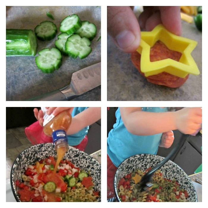 Making Silly Star Pasta Salad - Sponsored by Kraft at B-InspiredMama.com