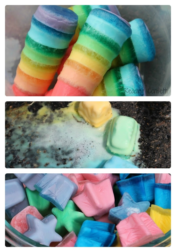 7 Ways to Make Ice Chalk for Kids from Reading Confetti at B-InspiredMama.com