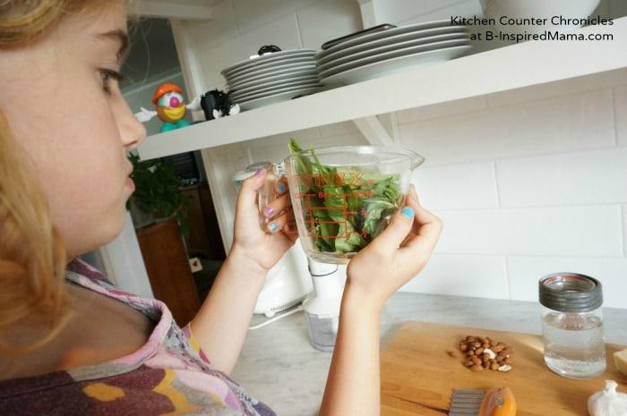 Making Basil Pesto Kids Recipe at B-Inspired Mama