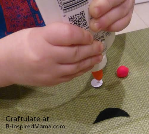 Gluing Christmas Ornaments for Kids to Make - Snowman - B-Inspired Mama