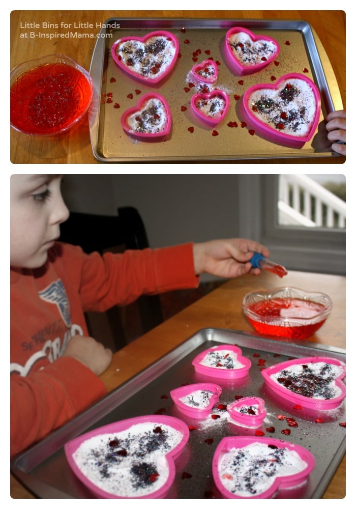 The Setup - Fun Fizzy Hearts Science for Kids at B-Inspired Mama