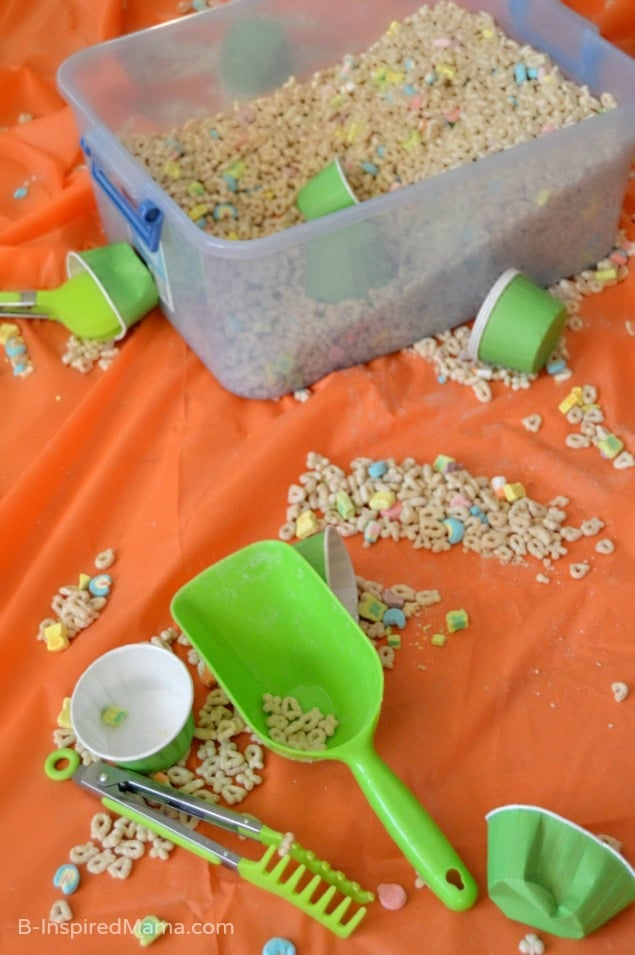 A Cereal Sensory Bin for Sensory Play at B-Inspired Mama