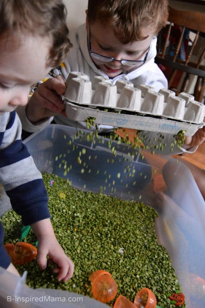 Shaking Shaking Sensory Play with a Peas and Carrots Sensory Bin at B-Inspired Mama