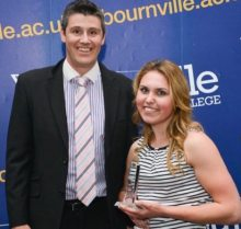 Ashleigh receiving her Sports Personality of the Year 2015 Award at Bournville College