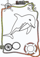 Ausmalbild-Meer-Delphin