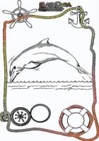 Ausmalbild-Meer-Delphine