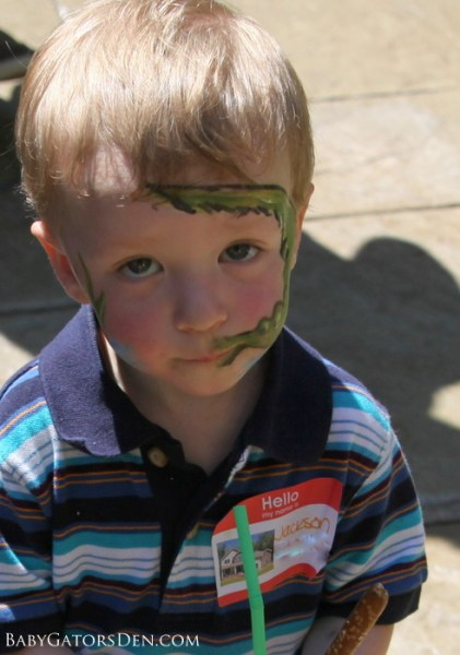 One tired little dude with an Alligator face at the end of the party!