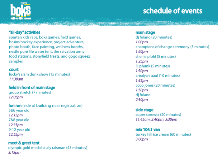 schedule 700x507 BOKS Active Kids Day: fun for the entire family