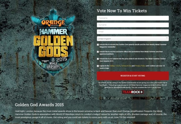 Metal Hammer Golden Gods Awards 2015 vote