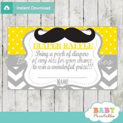 printable mustache yellow chevron diaper raffle tickets