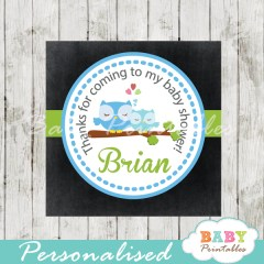 baby boy blue owl printable chalkboard baby shower gift labels