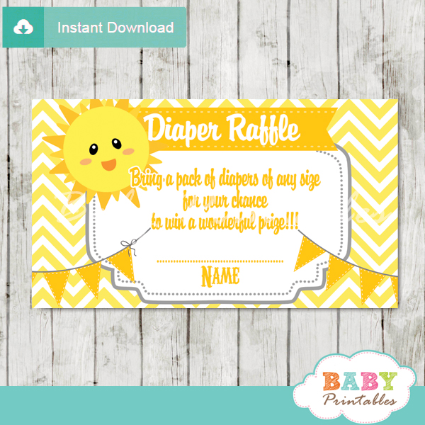 you are my sunshine baby shower diaper raffle tickets d160