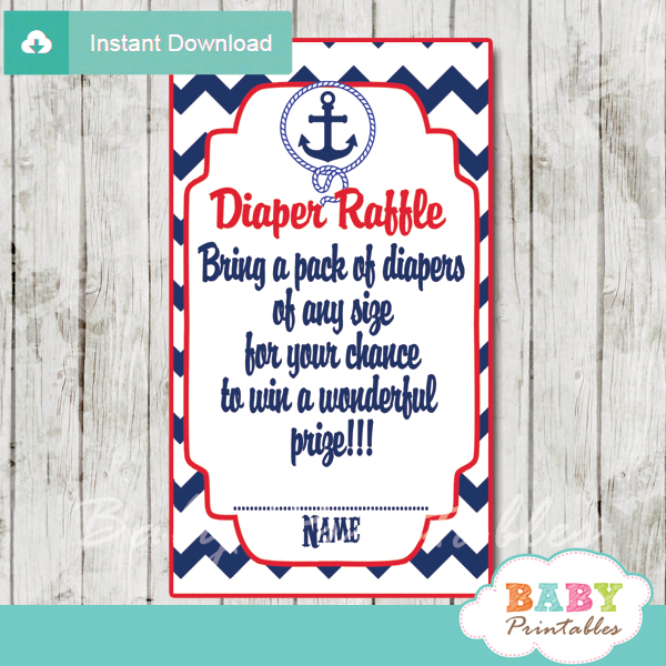 194 navy blue red nautical anchor baby shower printable diaper raffle