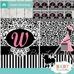 animal print printable french paris poodle welcome banner decoration personalized