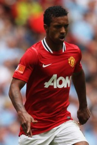 Luis Nani in action against Manchester City
