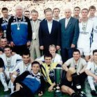 Lobanovskiy - standing in left centre in tracksuit, with Shevchenko underneath and nearest - and the Kiev squad with the 1999 Ukrainian Cup