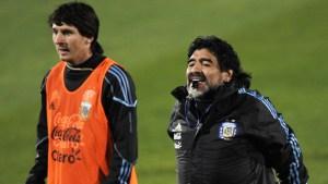 Messi, Maradona, Tevez & Francescoli playing football tennis