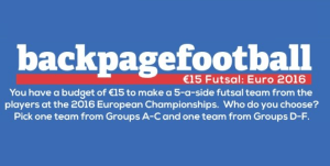 Pick your €15 Euro 2016 Futsal teams