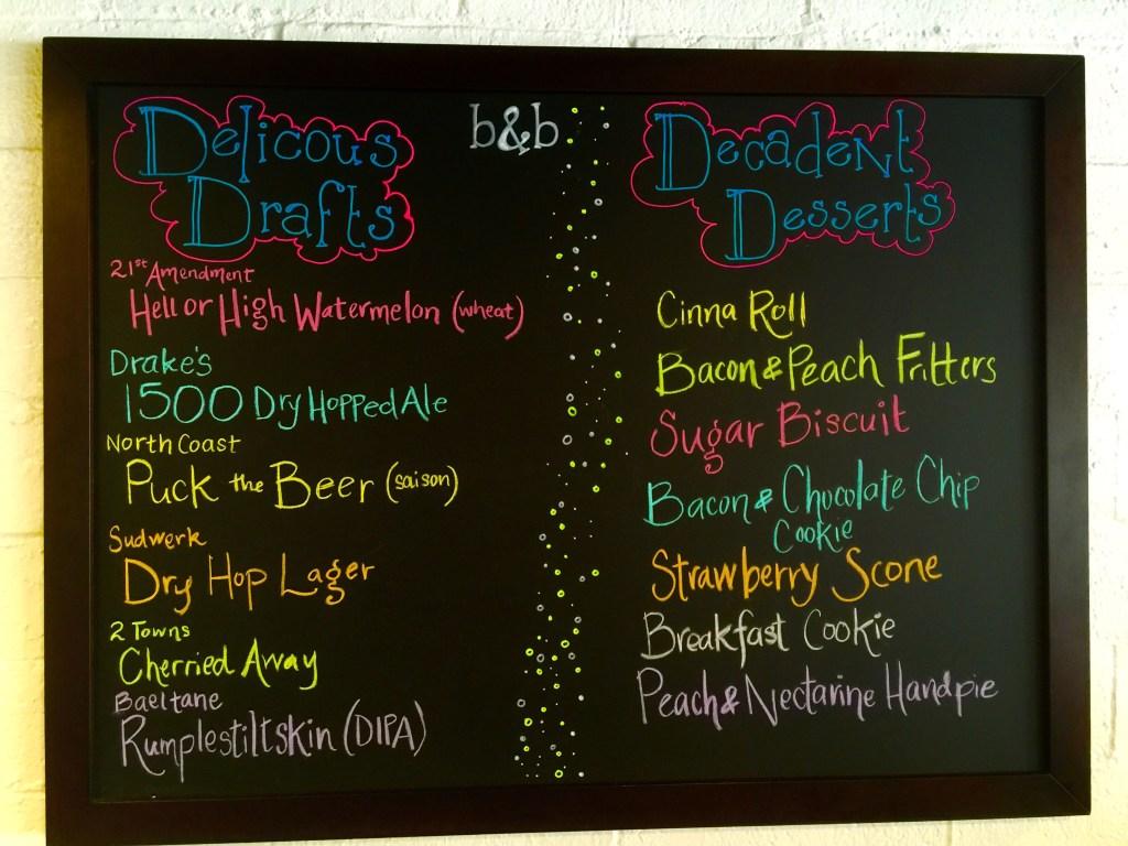 drafts and desserts menu board