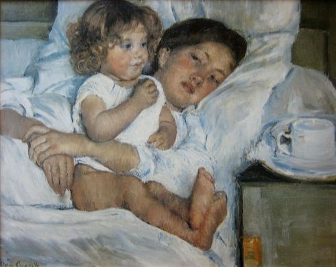 Breakfast in Bed (1897) by Mary Cassatt - oil on canvas, Huntington Library