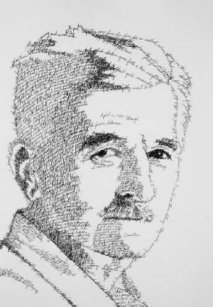 William Faulkner rendered in words from The Sound and the Fury