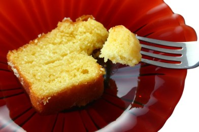 Slice-of-Pound-Cake-on-Red-Plate-iStock