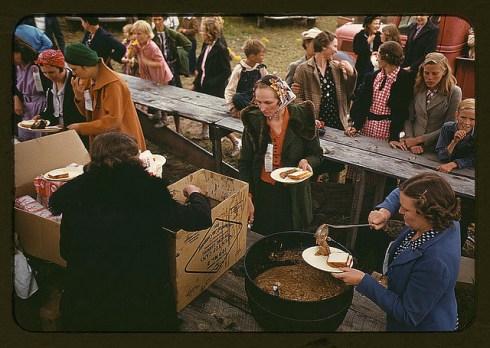 Serving beans at the Pie Town fair.