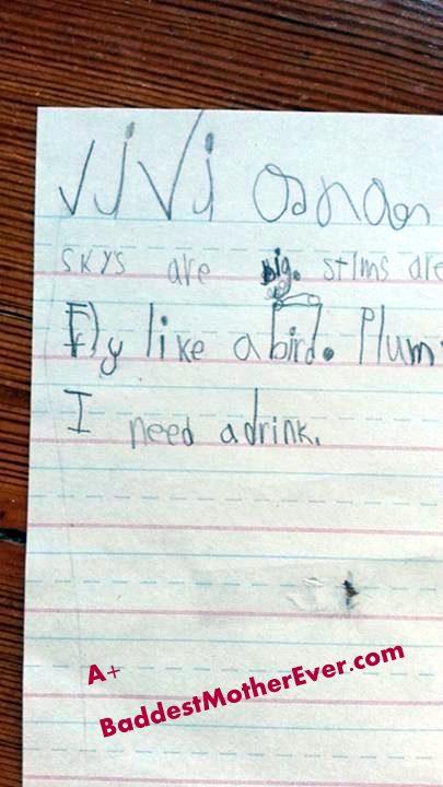 My daughter's spelling homework.