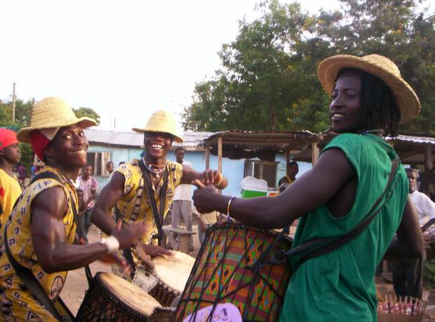 Volunteering on Liberian Refugee Camp - drummers